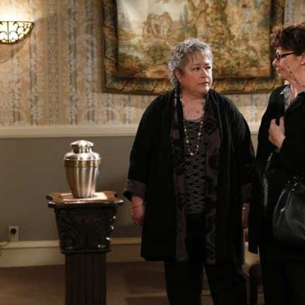 "Kathy Bates left and Rondi Reed in ""Mike & Molly"" on CBS."