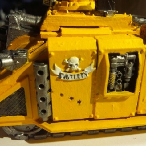 """My bright yellow tank with a huge cannon is ironically named """"Subtlety"""""""