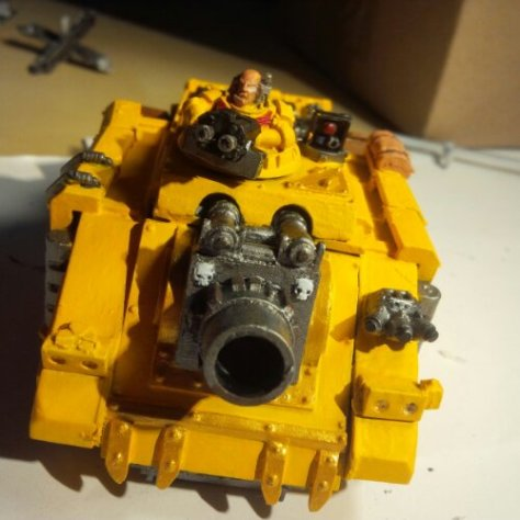 It's bad news time when you're staring down the barrel of a Space Marine Vindicator's Demolisher Cannon