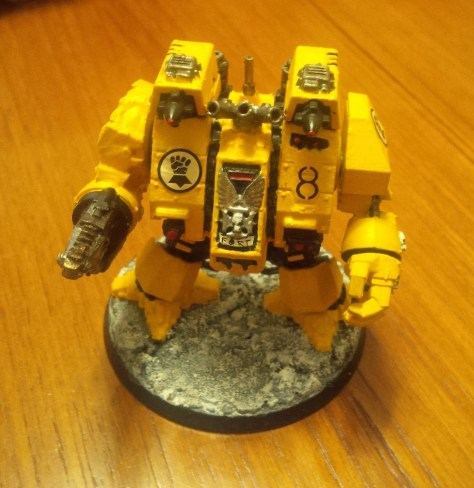 """Imperial Fists Space Marine Dreadnought """"Fort"""" (Front View)"""