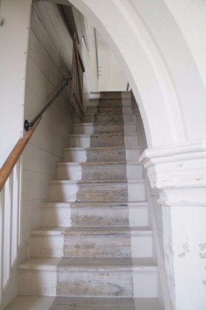 Old stairs to gallery.
