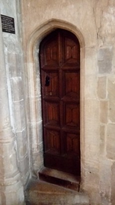 Entrance to the the little tower, containing an old Suffolk bell cast in around 1346.