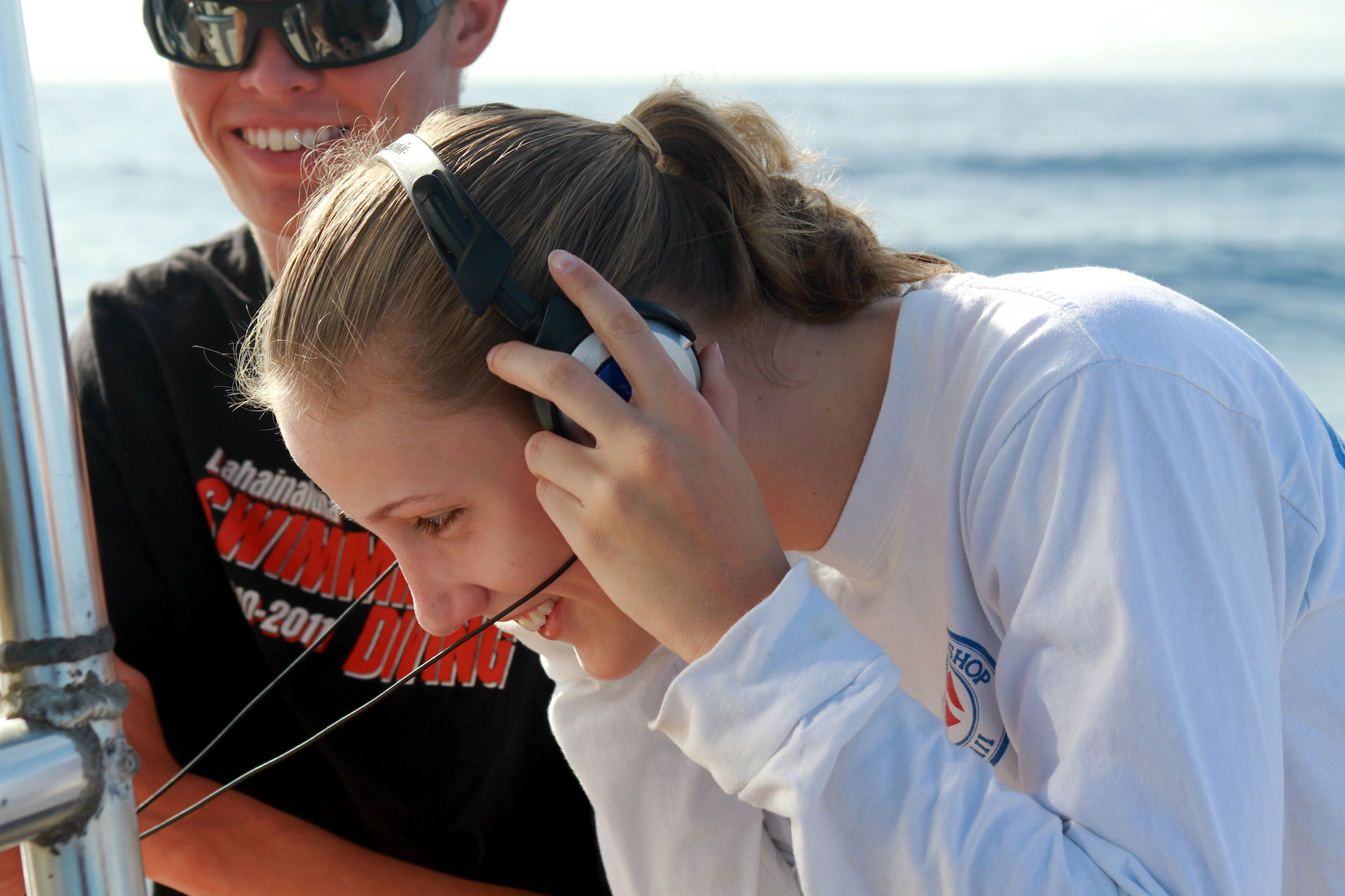 Student listening to Whale Song