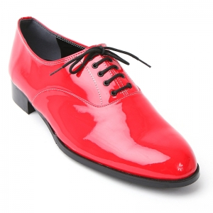 Mens round toe oxford Lace Up dress shoes glossy red