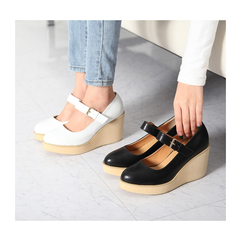 Womens Synthetic Leather Round Toe High Platform Wedge