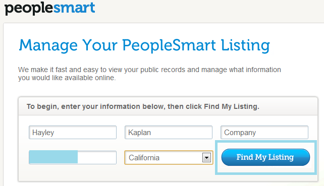 Opt out of peoplesmart
