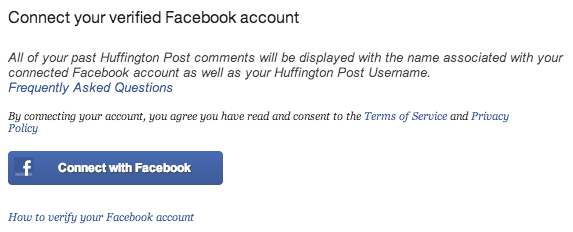 Huffington Post's Facebook verification