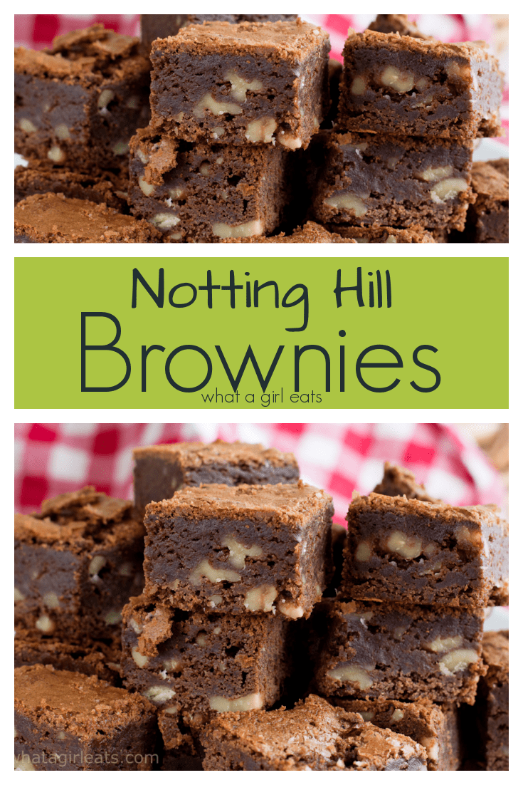 Notting Hill brownies are packed with nuts. These rich and fudgy brownies will have you swooning!