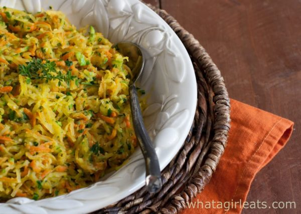 This tri-color Harvest squash casserole is the perfect autumn side dish.   Recipe on WhatAGirlEats.com