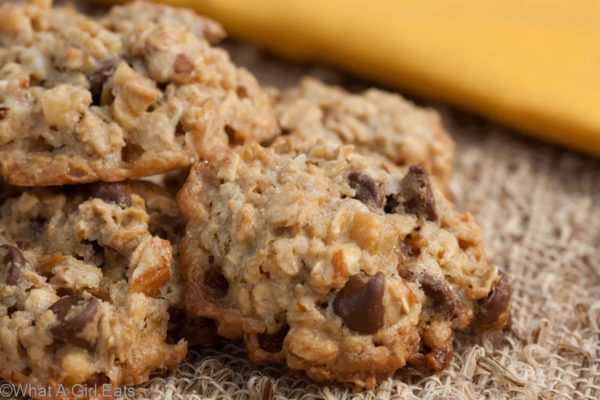 Flourless caramel chocolate chip oatmeal cookies - Just one of the three gluten free cookie recipes in this post! | WhatAGirlEats