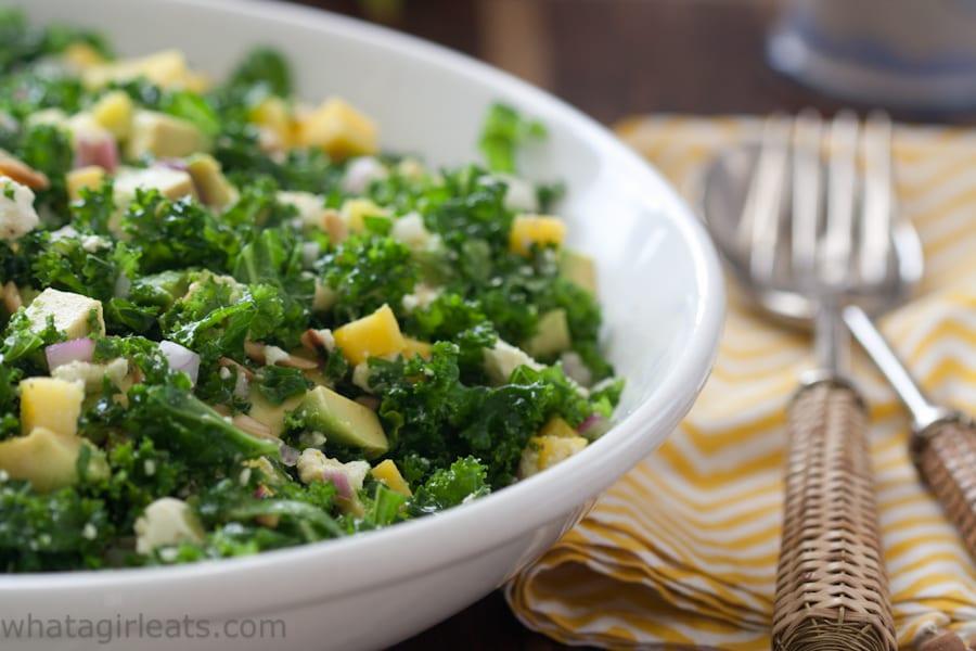 Kale salad with feta and mango