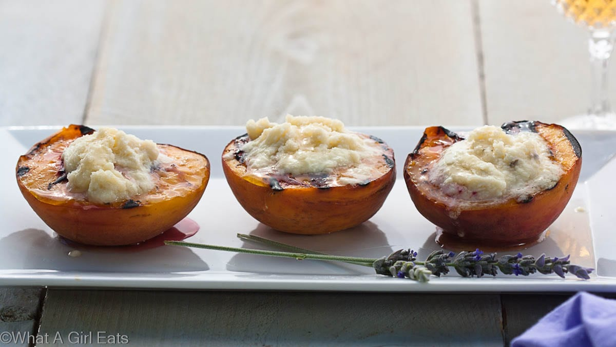 Cooking With Herbs, Lavender. Grilled Peaches with Mascarpone, Honey and Lavender.