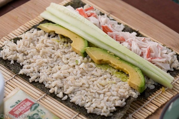 California Rolls. Add thin slices of cucumber and avocado.