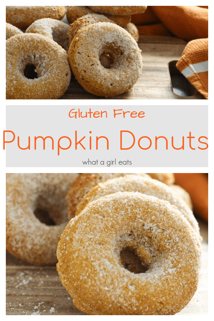 Pumpkin spice gluten free donuts are tossed with baked then tossed with cinnamon sugar. The perfect bite with a cup of coffee.