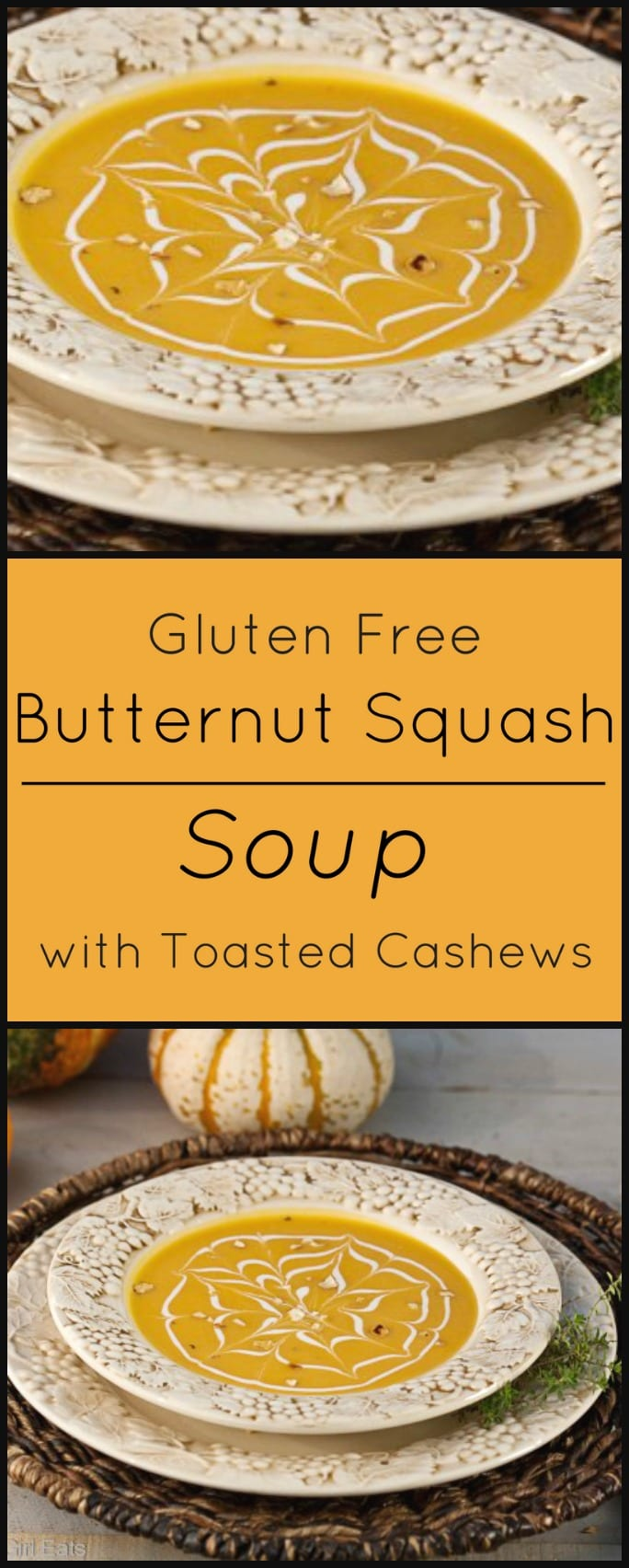 Gluten free Butternut Squash Soup with Toasted Cashews.