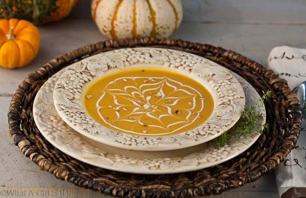 Butternut Squash Soup with Toasted Cashews | @whatagirleats