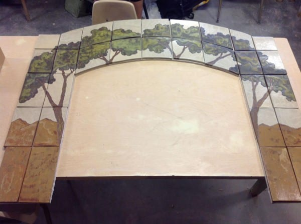 Commissioned fireplace surround, by artist Sarah Moore