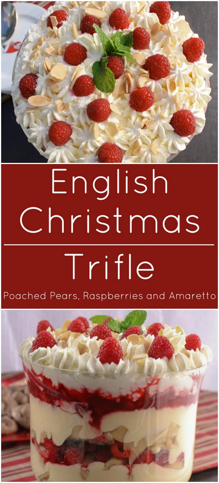 English Christmas Trifle with almond pound cake soaked with Amaretto ...