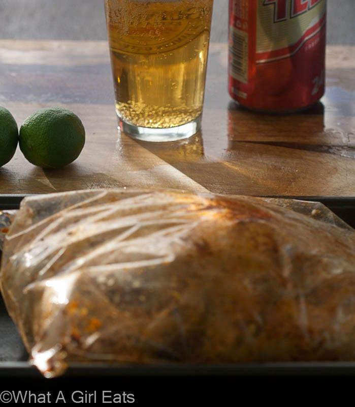 Peruvian garlic-lime roasted chicken marinating.