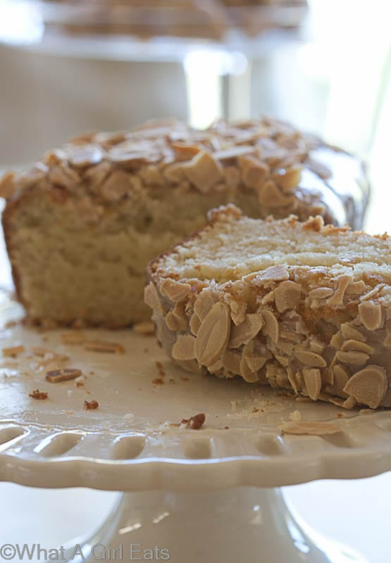 Gluten Free Almond Tea Bread is for almond lovers! Moist and dense, it's almost like a pound cake, but lightened up! | What a Girl Eats