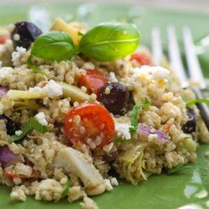 Artichoke and Pesto Mediterranean Quinoa Salad