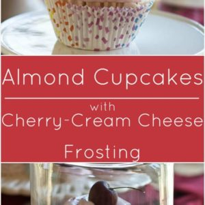 Gluten free Almond Cupcakes with Cherry Almond Cream Cheese Frosting.