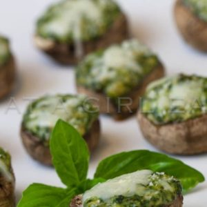 Spinach, gorgonzola and basil stuffed mushrooms.. @whatgirleats.com