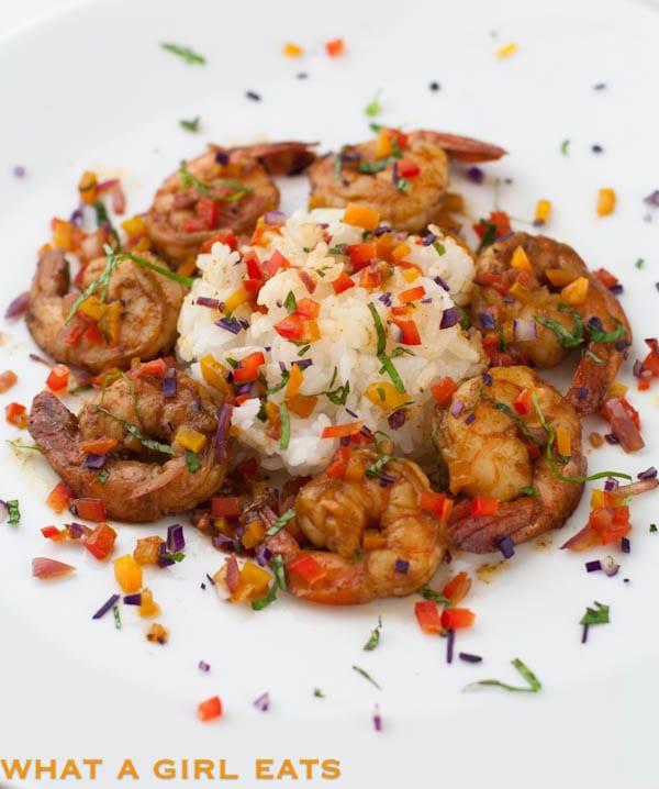 Spicy Confetti Shrimp recipe, from @whatagirleats