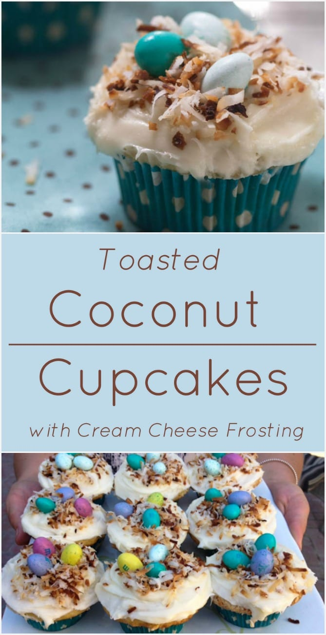 Coconut Cupcakes with Cream Cheese Frosting and Toasted Coconut.