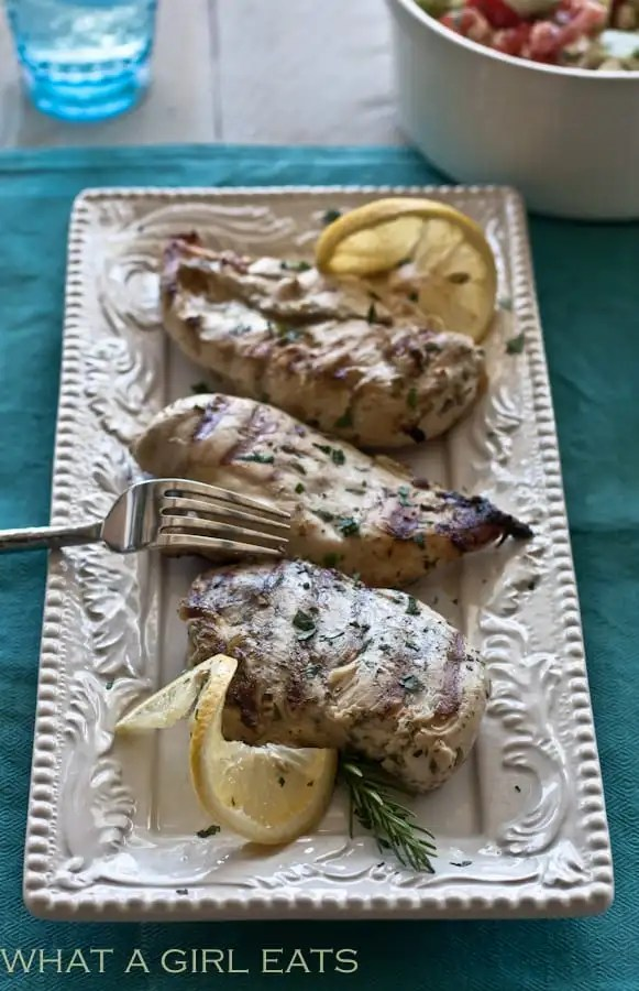 Grilled Greek chicken is a flavorful, easy to make grilled chicken dinner. Chicken breasts or thighs are flavored with Greek spices, oregano, thyme, and rosemary, then grilled until tender.