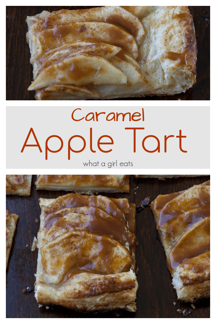 This easy caramel apple tart has layers of tart apples on a puff pastry crust then brushed with caramel.
