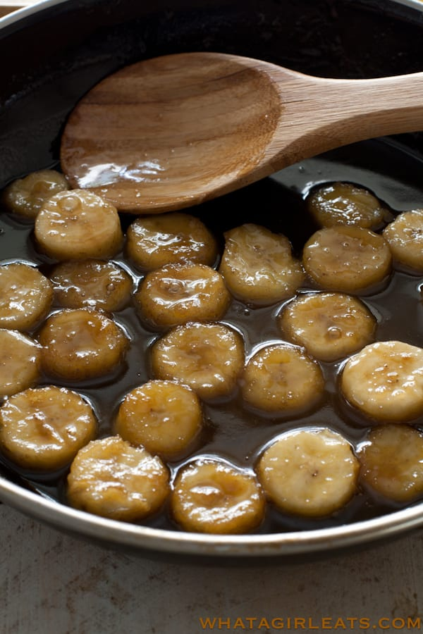 Bananas in a saute of rum, butter, and brown sugar.