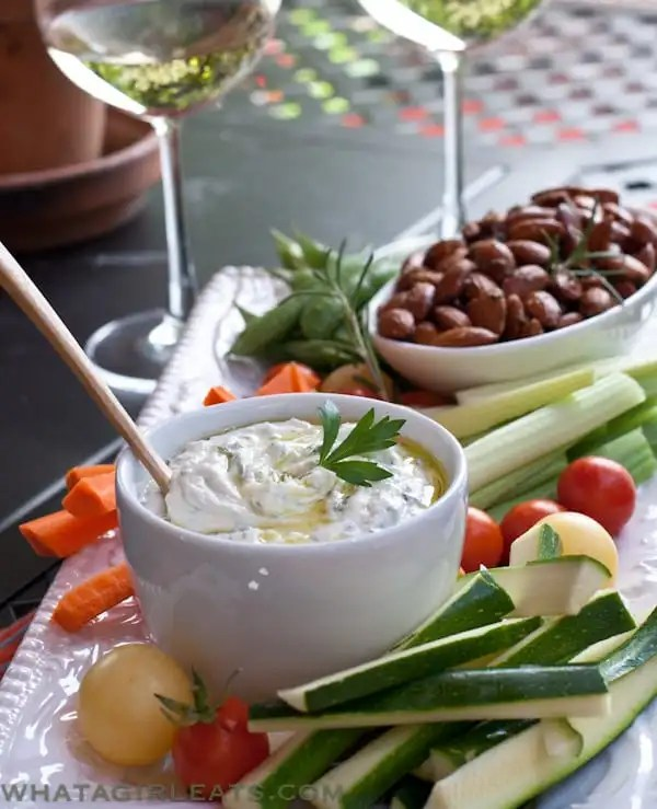 This creamy herbed goat cheese dip is the perfect accompaniment to veggies or crackers.