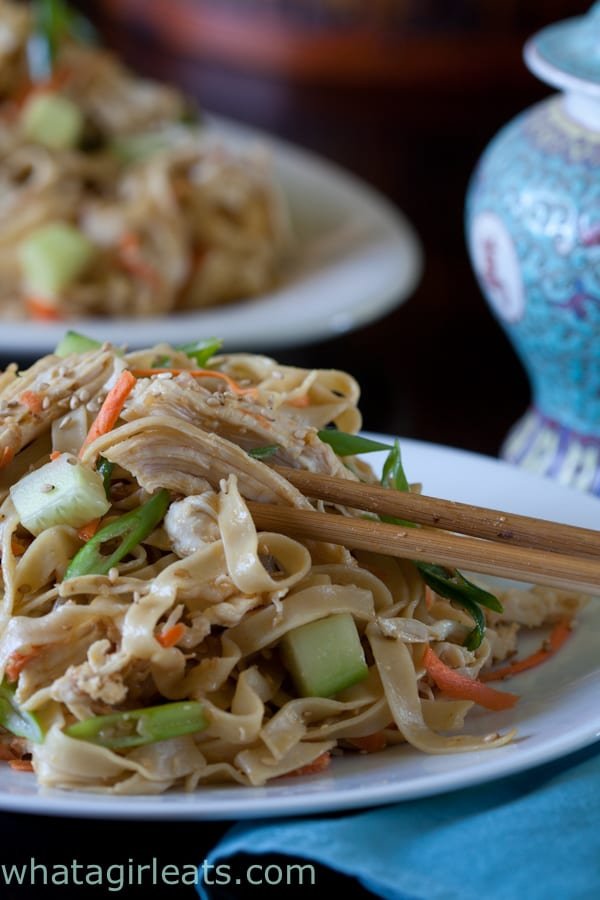 Cold sesame noodles with chicken and cucumbers.
