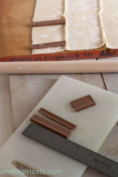 The batons should be about 3 inches in length. Cut a chocolate bar to fit the pastry. @whatagirleats.com