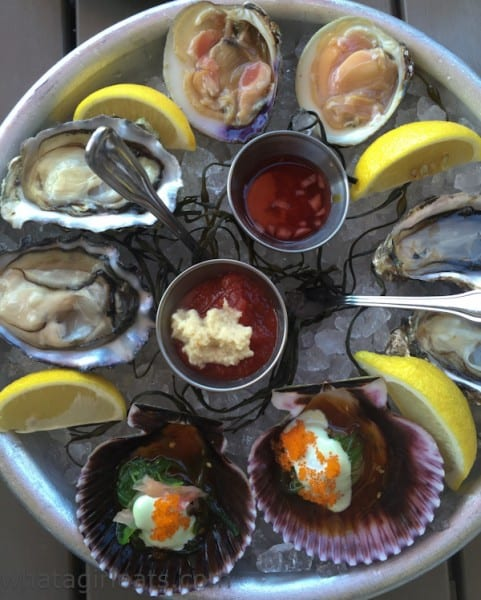 Starting clockwise from the top, Cherrystone clams, Hood Canal oysters, Ponzu Sashimi Sea Scallops with wasabi aioli and wakame salad and Phantom Creek oysters.