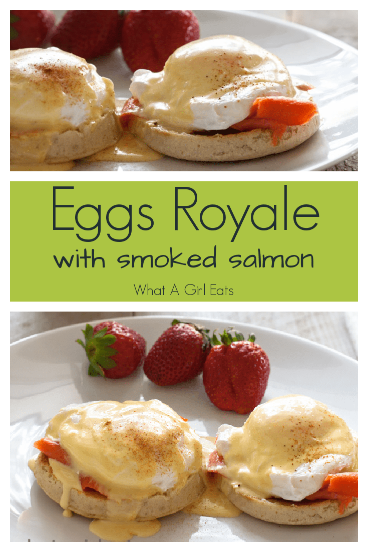 Similar to Eggs Benedict, Eggs Royale are poached eggs and smoked salmon bathed in Hollandaise and served on toasted English muffins.