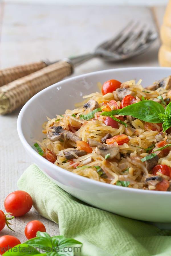 Whole30 Tomato Mushroom Spaghetti squash with basil. Vegan and gluten free!l. Vegan and gluten free!