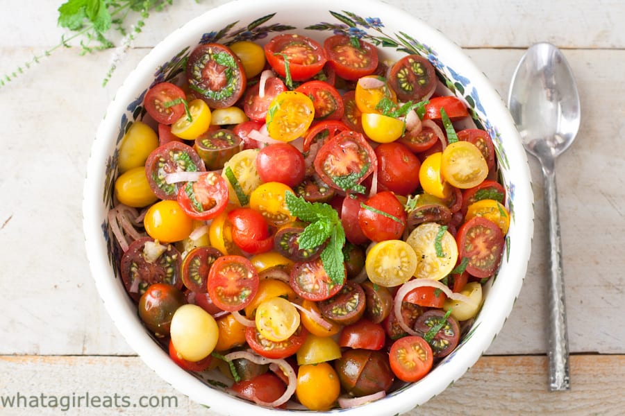 This Tomato Mint Salad makes a pretty addition to any party! Whole30 compliant.