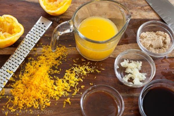 Ingredients for orange chicken