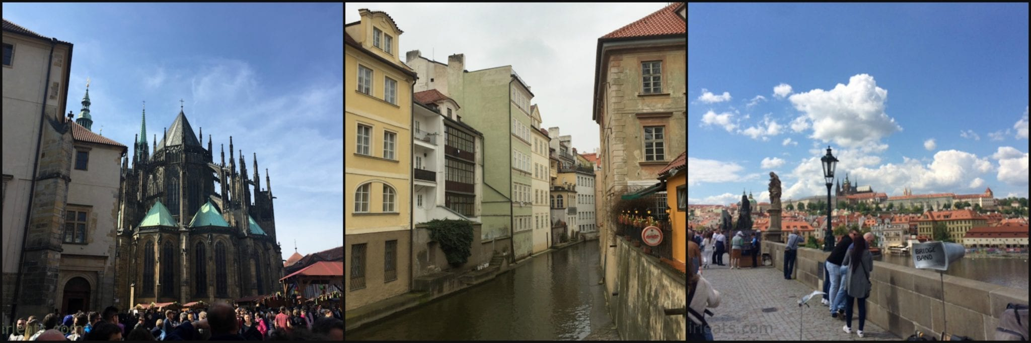 Prague Castle, canal on the Vltava River, Prague Castle from the Charles Bridge.