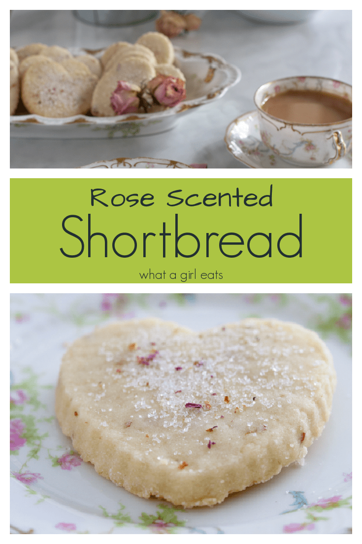 Rose scented shortbread is a delicate cookie with subtle floral undertones, perfect with a cup of tea.