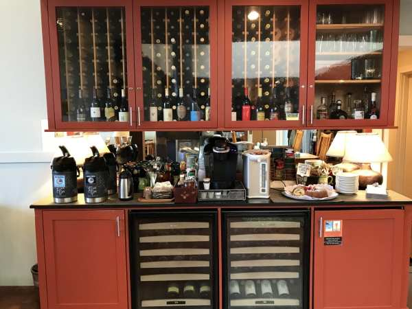 Beverage station at the inn offers coffee, tea and a sweet nibble or two all day long.