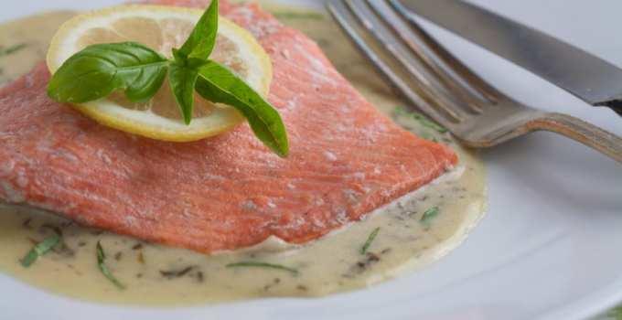 Salmon In Basil Cream Sauce