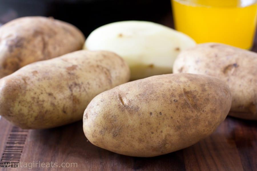 unpeeled potatoes