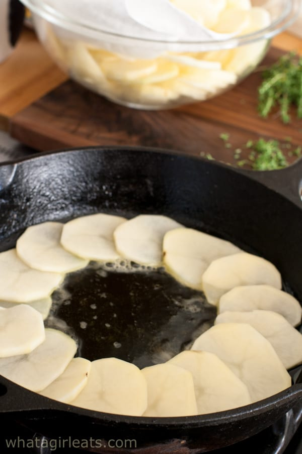 potatoes in cast iron skillet