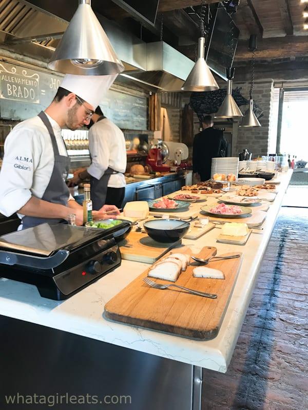 Chefs cooking breakfast