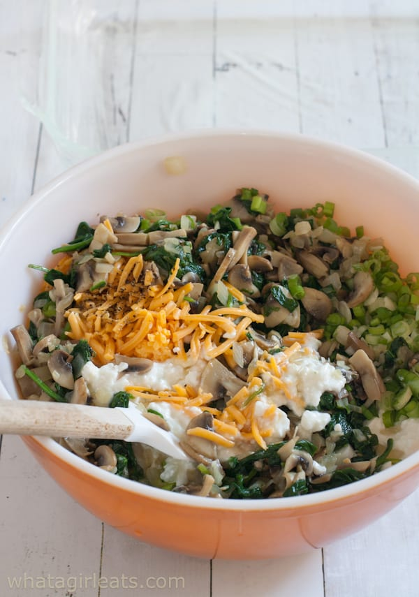 spinach mushroom casserole ingredients in mixing bowl
