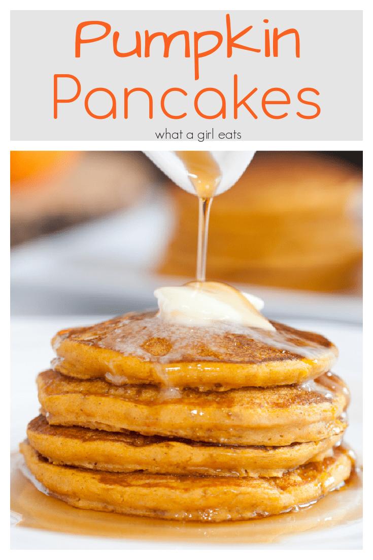 Pumpkin pancakes is a buttermilk batter and warm pumpkin spices and pumpkin puree. So easy!