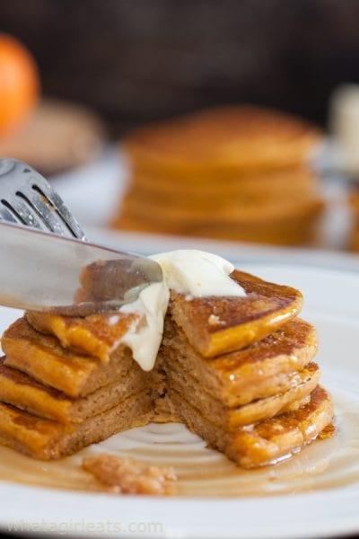 Cut pumpkin pancakes